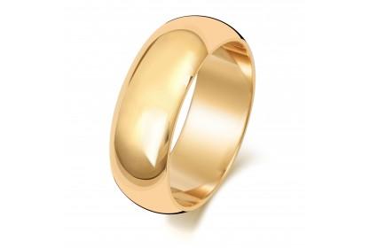 9ct Yellow Gold D Shape 7mm Medium Weight Band